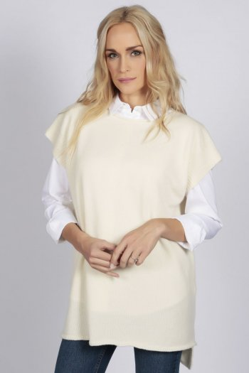 Cream White women's pure cashmere sleeveless sweater