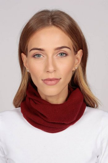 Cashmere snood in bordeaux