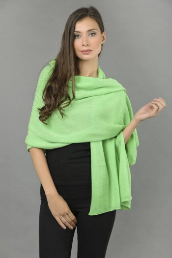 Knitted Pure Cashmere Wrap in Acid Green