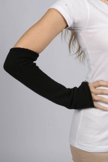 Black pure cashmere fingerless long wrist warmer gloves