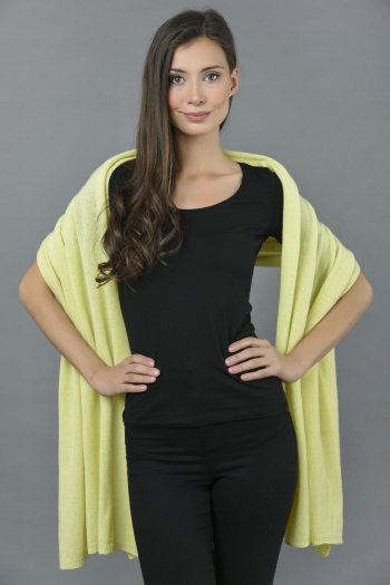 Knitted Pure Cashmere Wrap in Yellow