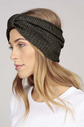 Cashmere headband charcoal grey