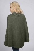 Army green 100% cashmere roll neck poncho back