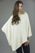 Pure Cashmere Knitted Asymmetric Poncho Wrap in Cream White 1