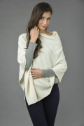 Pure Cashmere Knitted Asymmetric Poncho Wrap in Cream White 2