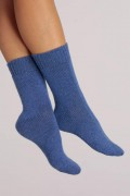 Cashmere Bed Socks in Periwinkle Blue Plain Knit