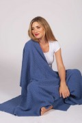Cashmere blanket throw knitted chequers pattern 2