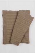 Luxury Pure Cashmere Cable Knit Blanket Throw Camel Brown 01