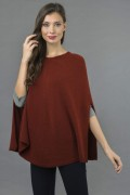 Pure Cashmere Plain Knitted Poncho Cape in Bordeaux 4