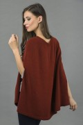 Pure Cashmere Plain Knitted Poncho Cape in Bordeaux 1