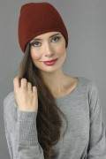 Pure Cashmere Plain Knitted Slouch Beanie Hat in Bordeaux 1
