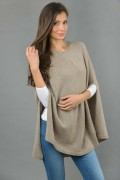 Pure Cashmere Plain Knitted Poncho Cape in Camel Brown 3