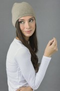 Pure Cashmere Plain Knitted Slouchy Beanie Hat in Camel Brown 2