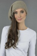 Pure Cashmere Ribbed Knitted Slouchy Beanie Hat in Camel Brown 3