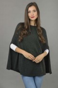 Pure Cashmere Plain Knitted Poncho Cape in Charcoal Grey 3