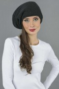 Pure Cashmere Ribbed Knitted Slouch Beanie Hat in Charcoal Grey 1