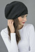 Pure Cashmere Ribbed Knitted Slouch Beanie Hat in Charcoal Grey 3