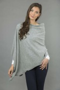 Pure Cashmere Knitted Asymmetric Poncho Wrap in Light Grey 3