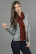 Pure Cashmere Plain Knitted Small Stole Wrap in Bordeaux 2