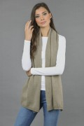 Pure Cashmere Plain Knitted Small Stole Wrap in Camel Brown  2