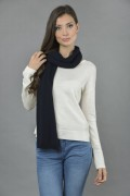Pure Cashmere Plain Knitted Small Stole Wrap in Navy Blue 3