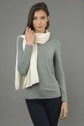 Pure Cashmere Plain Knitted Small Stole Wrap in Cream White1