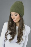 Pure Cashmere Plain Knitted Beanie Hat in Loden Green 2