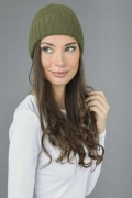 Pure Cashmere Plain and Ribbed Knitted Beanie Hat in Loden Green 3
