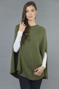 Pure Cashmere Plain Knitted Poncho Cape in Loden Green 4