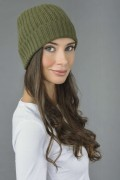 Pure Cashmere Fisherman Ribbed Beanie Hat in Loden Green 2