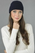 Pure Cashmere Plain and Ribbed Knitted Beanie Hat in Navy Blue 3