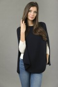 Pure Cashmere Plain Knitted Poncho Cape in Navy Blue 2