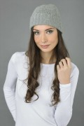 Pure Cashmere Plain and Ribbed Knitted Beanie Hat in Light Grey 1