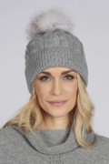 Light Grey pure cashmere fur pom pom cable knit beanie hat front