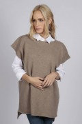 Camel brown beige women's pure cashmere sleeveless sweater front