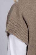Camel brown beige women's pure cashmere sleeveless sweater close-up