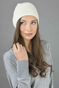 Pure Cashmere Plain Knitted Beanie Hat in Cream White 2