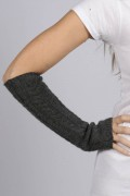 Charcoal Grey cashmere cable knit wrist warmers gloves 2