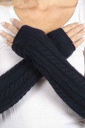 Navy Blue pure cashmere cable knit wrist warmers gloves 3