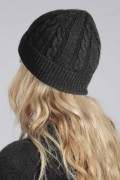 Charcoal grey cashmere beanie hat cable and rib knit  3
