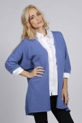 Periwinkle blue pure cashmere duster cardigan front