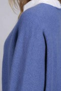 Periwinkle blue pure cashmere duster cardigan close-up
