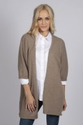 Camel brown beige pure cashmere duster cardigan front