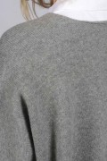 Light grey pure cashmere duster cardigan close-up