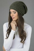 Pure cashmere ribbed slouchy beanie hat plain knit 2