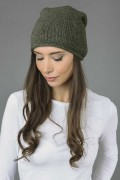 Pure cashmere slouchy beanie hat plain knit army green 3