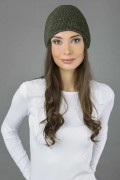 Pure cashmere slouchy beanie hat plain knit army green 2