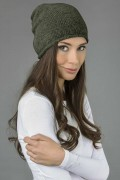 Pure cashmere slouchy beanie hat army green 1