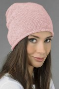 Pure Cashmere Plain Knitted Slouchy Beanie Hat in Baby Pink 01
