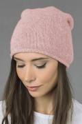 Pure Cashmere Plain Knitted Slouchy Beanie Hat in Baby Pink 02
